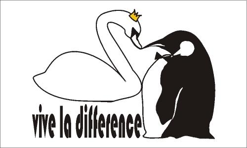 Detail návrhu labuť a tučňák