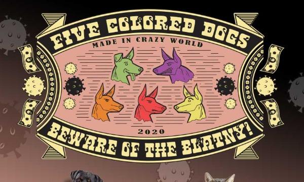 Detail návrhu Five colored dogs