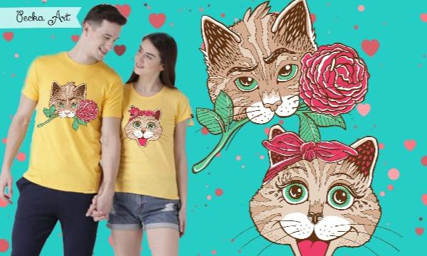 Detail návrhu Kocúrik a jeho mačička :) ♥