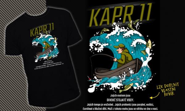 Detail návrhu Rybářské tričko. Kapr 11 - Jejich revírem je ....