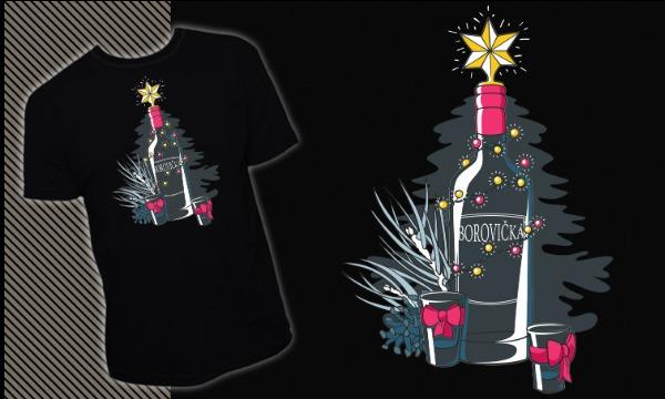 Detail návrhu Vánoční motiv Borovička